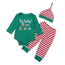 Newborn Unisex Baby Christmas Santa Letter Print Long Sleeve Romper+Striped Pant+Hat Clothes Outfits Green + red + white цена
