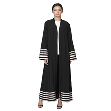 Womens Cardigan Abaya Spring Autumn Long Sleeve Striped Patchwork Loose Plus Size Dress Muslim Malaysia Dubai Kaftan Tur