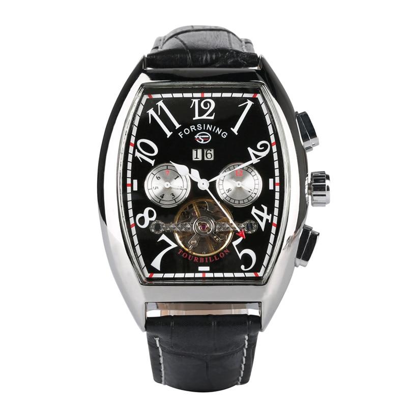 Watches Men Classic Rectangular Dial Design Skeleton Tourbillon Mechanical Watch Men Automatic Dial Mechanic Watch for Teenager