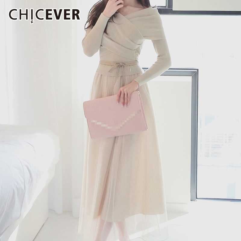 CHICEVER 2019 Autumn Knitted Slim Dress Female Patcchwork Lace Plus - Women's Clothing