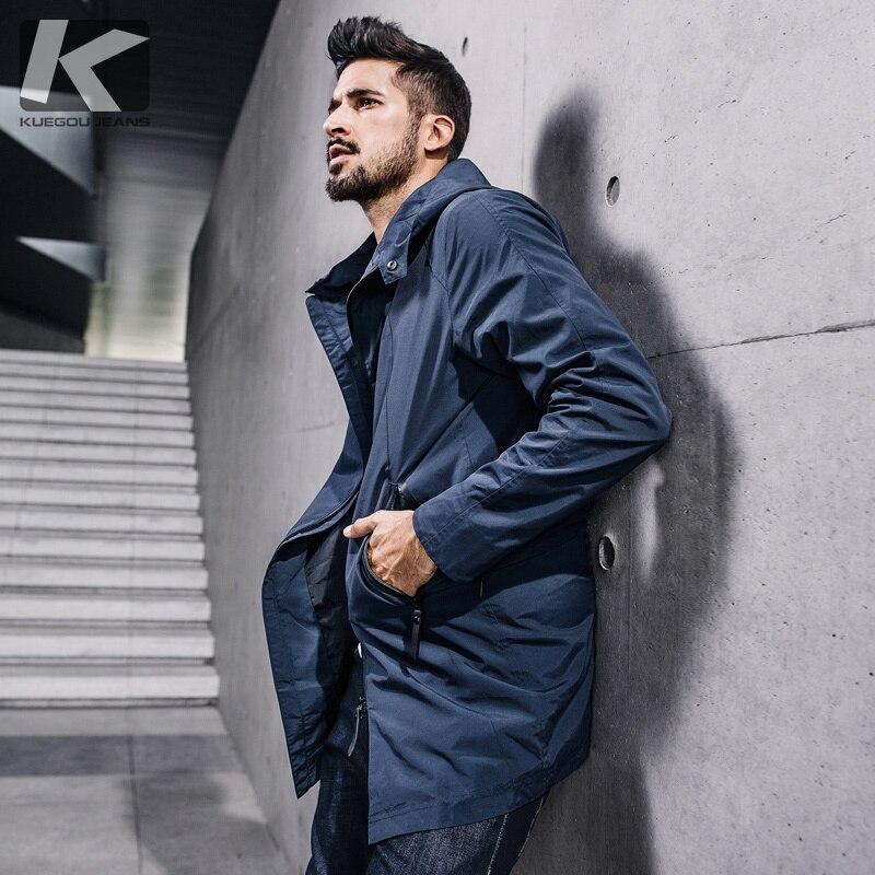 KUEGOU Herbst Mens Fashion Pullover Plaid Zipper Schwarze Gestrickte Marke Kleidung Man Slim Strickwaren Männlichen Stricken Pullover 16933