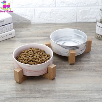 Wooden Rack Ceramic Single Bowl