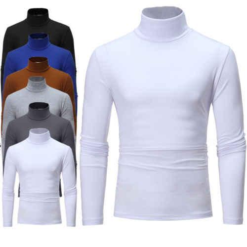 2019 Inverno Gola Alta T Shirt Dos Homens do Algodão Térmica Longa Camisa Slim Fit Turtle Neck Skivvy Camisa Trecho de Gola Alta Outono top