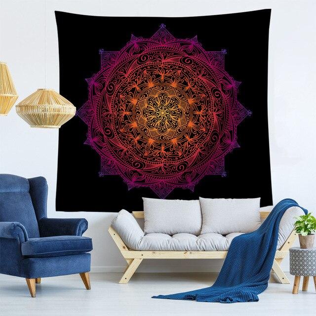 Polyester Psychedelic Mandala Permadani Wall Hanging Dekorasi Rumah Bohemian Latar Belakang Seni Seprai Dinding Kain Permadani