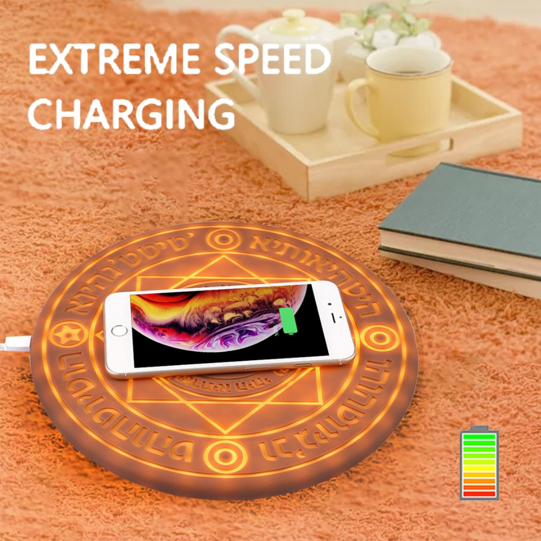 Glowing Magic Array Qi Wireless Fast Charger Pad 5W 10W for iPhone 8 plus X XR XS Max For Samsung Galaxy S9 S8 S10 plus S10eGlowing Magic Array Qi Wireless Fast Charger Pad 5W 10W for iPhone 8 plus X XR XS Max For Samsung Galaxy S9 S8 S10 plus S10e