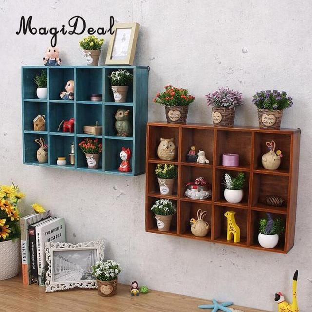 Rustic Wooden Wall Shelf Shadow Box Display Rack Storage Grid Cube For Home Diy Decoration 40x30x7 8cm