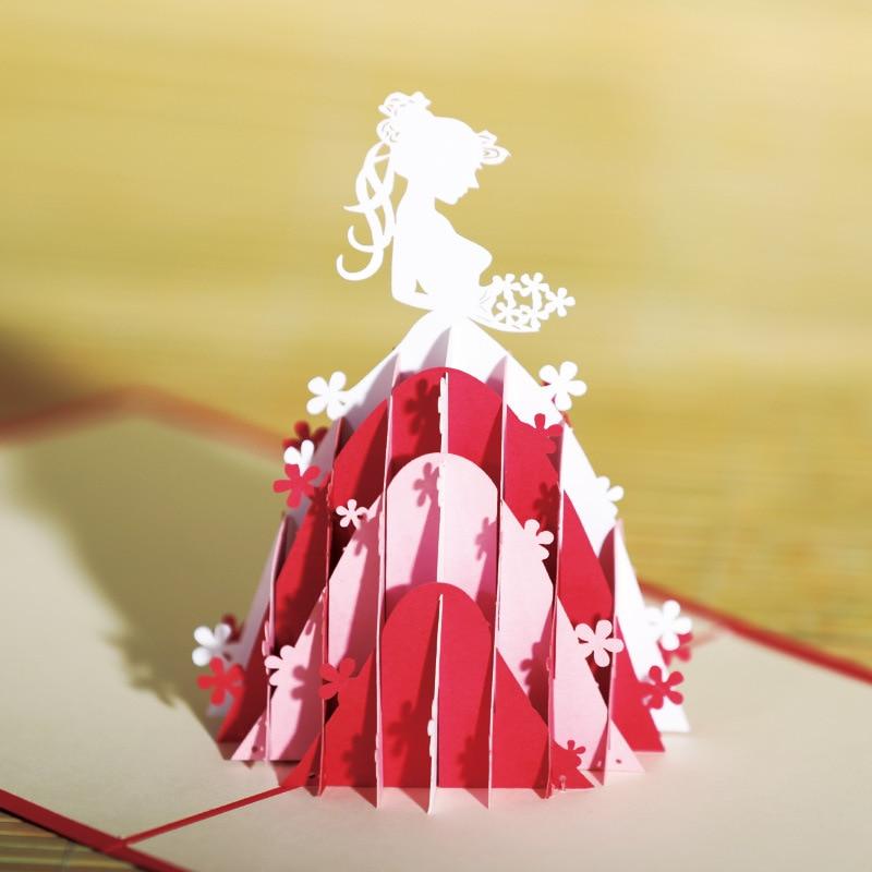 10pcs/lot Creative bride greeting card 3D paper carving princess  hollow custom postcard blessing Wedding Party pop up cards