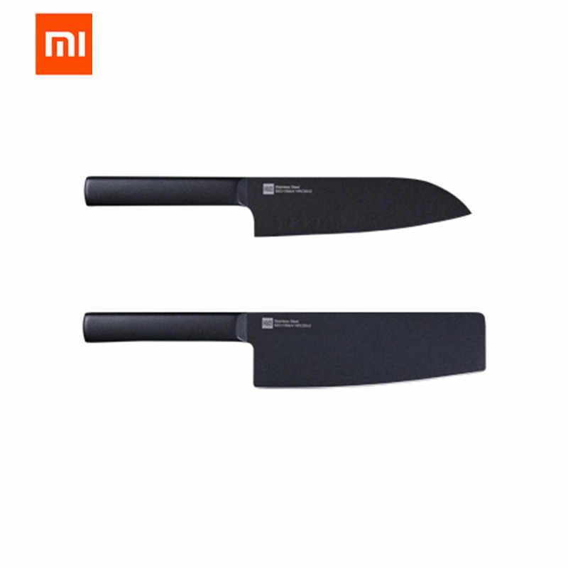 Huohou Cool Black Kitchen Non Stick Knife Stainless Steel Knife Set 307mm Slicing Knife 298mm Chef Knife From Xiaomi Youpin Kitchen Knives Aliexpress