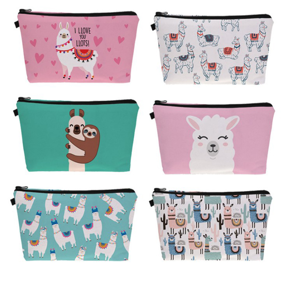 SFG HOUSE Printing Sloth Llama Cosmetic Bag Multicolor Pattern Cute Cosmetics Pouch Women Zipper Makeup Bag Travel Toiletry Bag