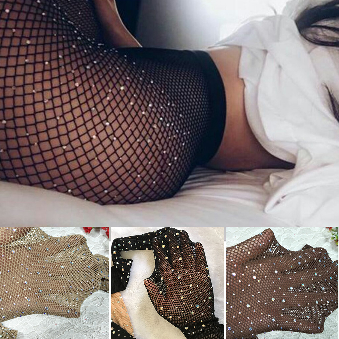 Women's Sexy Fishnet Stockings Open Crotch Mesh Tights Shiny Rhinestone Nylons Stockings Black Erotic Lingerie Collant image
