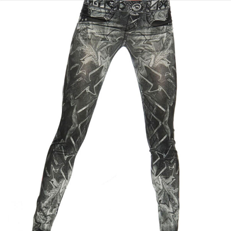 2019 Womens Skinny Pencil Pants Female Elastic Skinny Denim High Waist Printed Trousers Sexy Streetwear Jeans Pants
