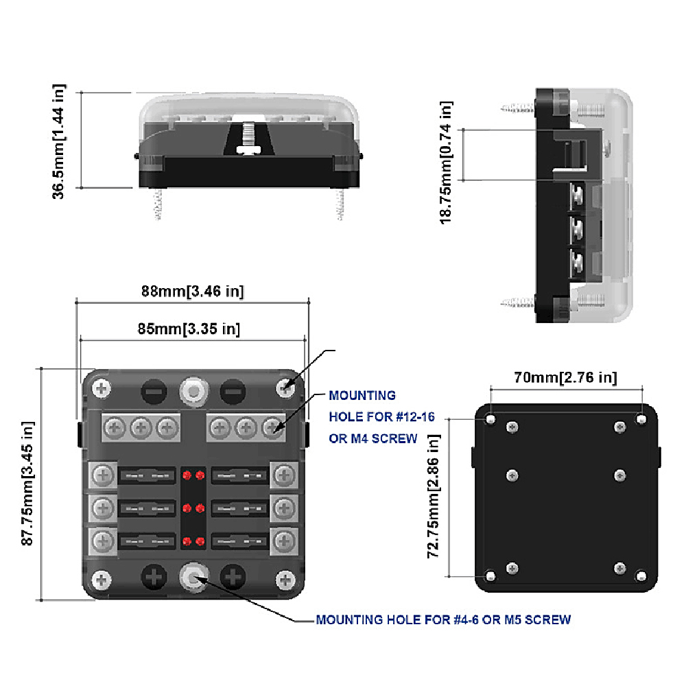 Image 5 - Automotive 12V 6 Way  LED Blade Holder Fuse Box Block Case with Negative-in Fuses from Automobiles & Motorcycles
