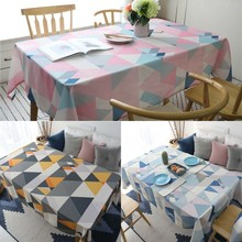 Nordic Geometric Triangle Printed Tablecloth Rectangular Waterproof Cotton Polyester Dining Table Cover Decor Textile