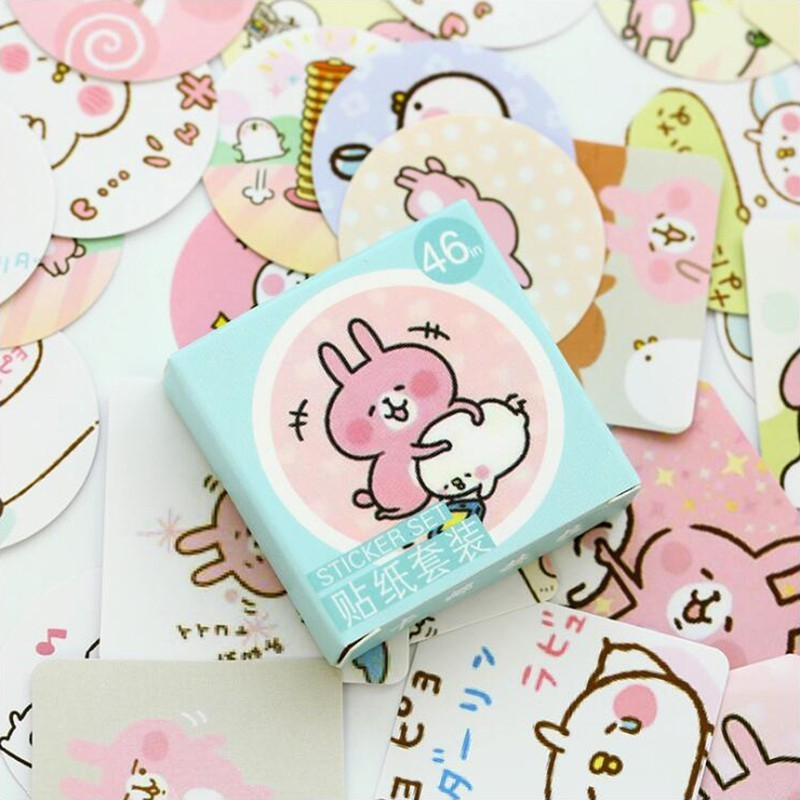 Mini Kana Hera Pattern Sticky Diary Stickers Decoracion Scrapbooking Flakes DIY Office Stationery School Supplies46 Pcs