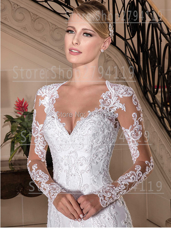 2019 A-line Wedding Dress Luxury Wedding Gown Pearl Appliques V Neck Chapel Train Dress Zipper Bottom Long Vestido De Noiva