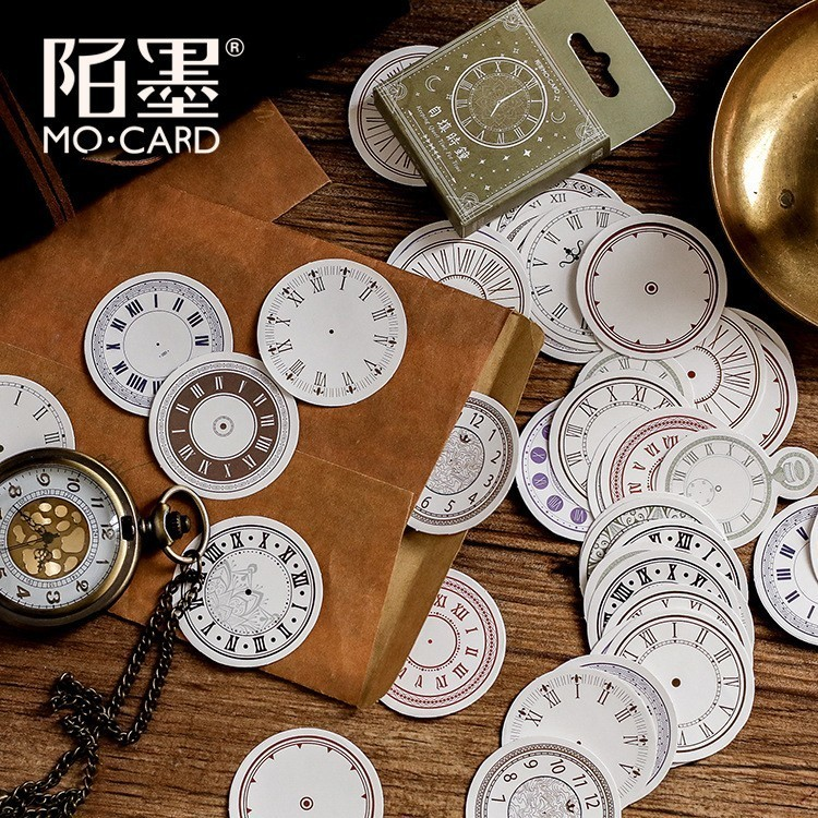 45PCS/box New Self-filling Clock Paper Lable Sealing Stickers Crafts Scrapbooking Decorative Lifelog DIY Stationery Sticker
