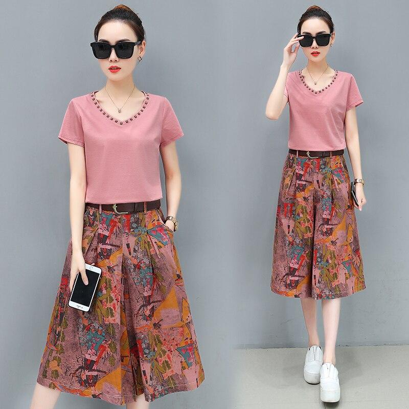 Été pantalon à jambes larges costume nouvelle mode coréenne loisirs lâche deux pièces vêtements ensemble femmes sweat floral imprimé pantalon