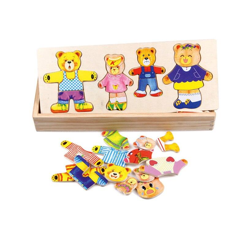 Houten Baby Kind Beer Veranderende Kleding Mannelijke Meisje Baby Puzzel Driedimensionale Puzzel Bouwstenen Speelgoed Geschikt Voor 1-4 Ye