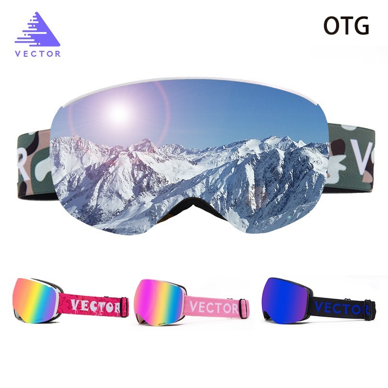 OTG Children Ski Goggles UV400 Snow Glasses Anti-fog Snowboard Spherical Lenses Sunglasses Motocross Children Boy Girl Kids
