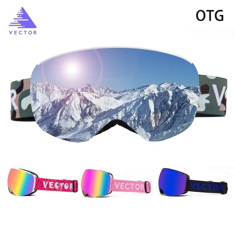 OTG Children Ski Goggles UV400 Snow Glasses Anti-fog Snowboard Spherical Lenses Sunglasses Motocross Children Boy Girl Kids