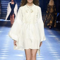 ZOUHIRC New Show Women Dress Long White Lantern Sleeve Bow Sashes Pearl Button Vintage Ladies Dress Outwear Dress vestido