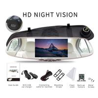 Mirror Camera With Rear View Camera 5inch 1080P High Definition Night Vision Led Light Dual Lens Mirror Video Recorder