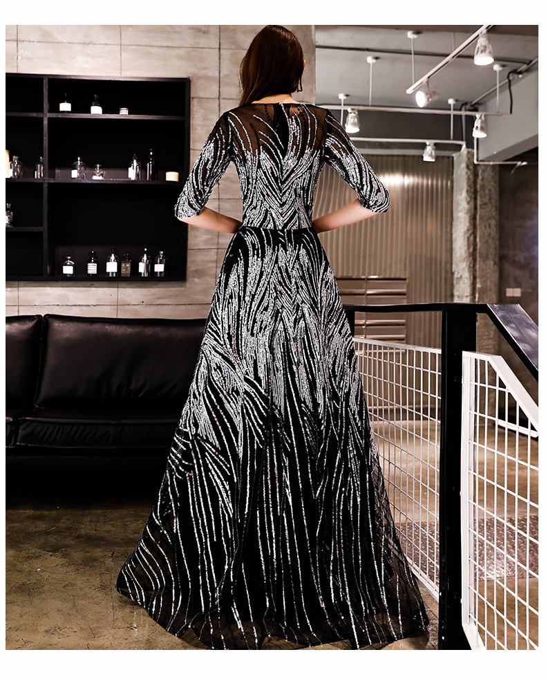SSYFashion New Luxury Sequins Evening Dress Banquet Elegant Black Half Sleeved Party Prom Gown Robe De Soiree Reflective Dress
