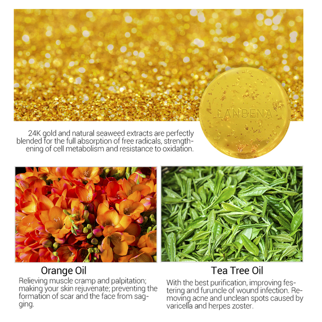 LANBENA Hyaluronic Acid+24k Gold Handmade Soap Seaweed+tea Tree Facial Deep Cleansing Moisturizing Whitening Face Care