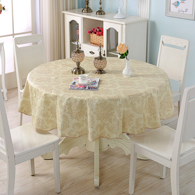 Pastoral PVC Waterproof Round Tablecloth – Floral Plaid