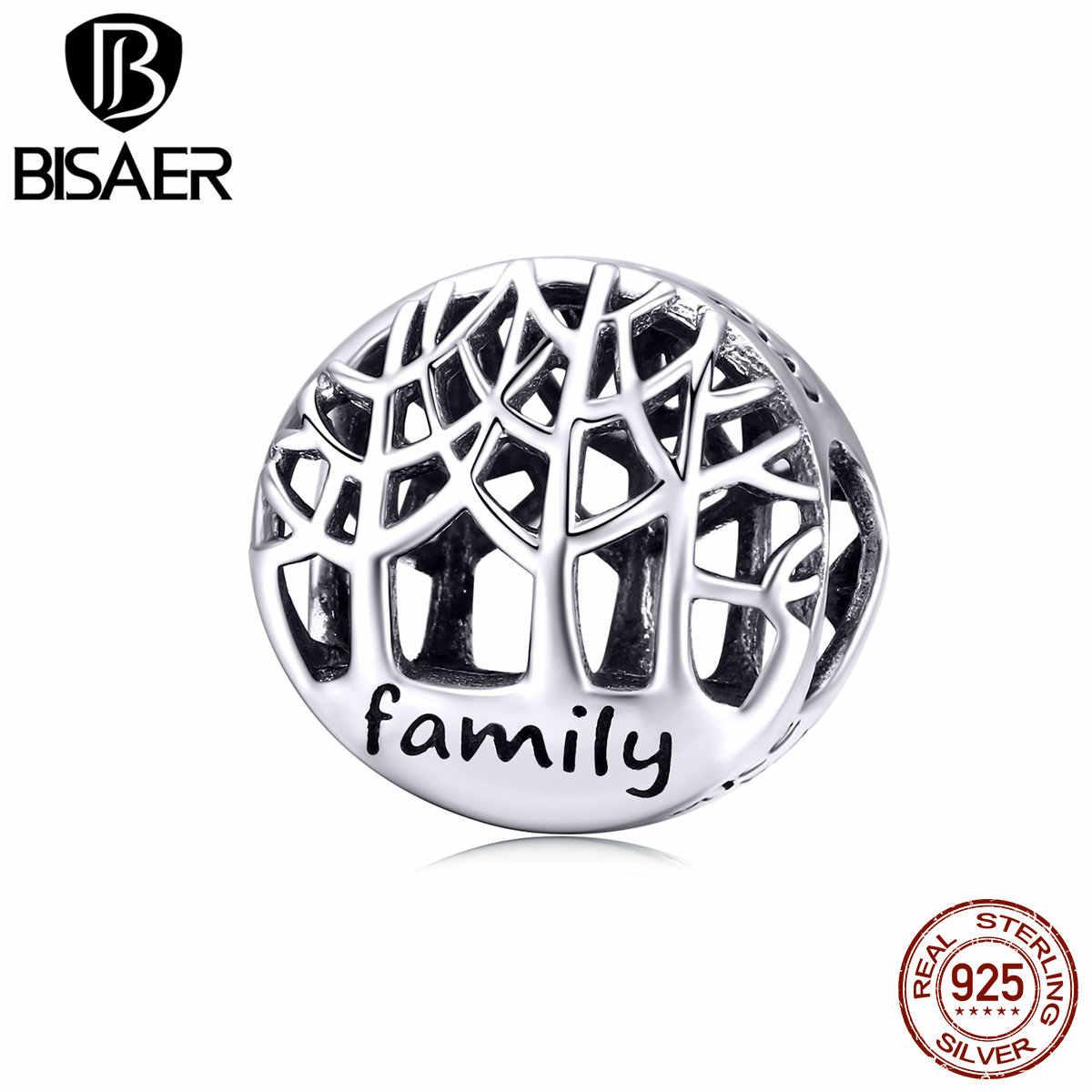 BISAER 100% 925 Sterling Silver ชีวิตต้นไม้ลูกปัดครอบครัวรัก Charm เหมาะกับกำไลสร้อยคอเครื่องประดับของขวัญวันแม่ HSC1144