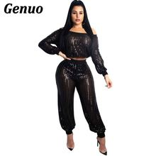 Genuo Black Sequin Sexy 2 Piece Set Women Perspective Mesh Crop Tops and Pant Suits Autumn Club Outfits Two Streetwear