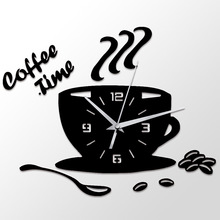 3D DIY Coffee Time Clock Acrylic Wall Clock Modern for Kitchen Home Decor Cup Shape Wall Sticker Hollow Numeral Clock DA406