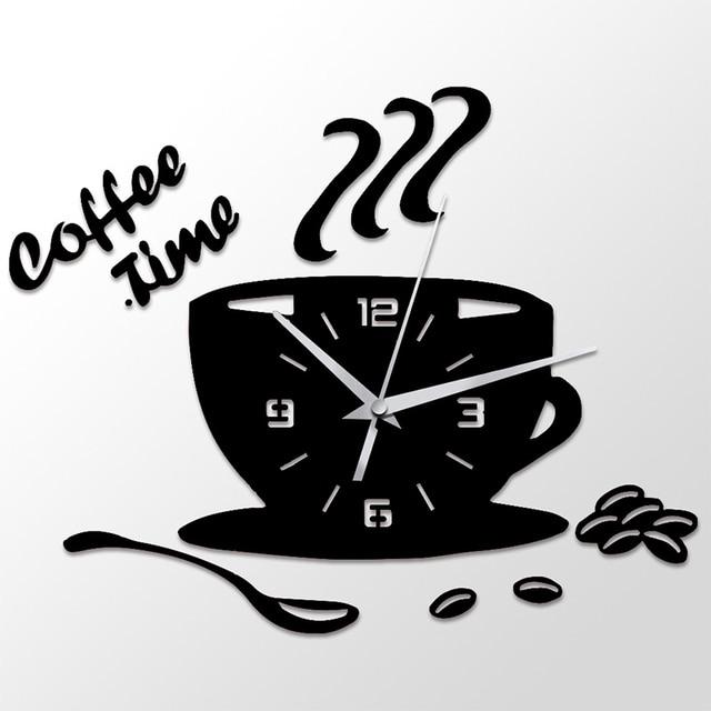 3D DIY Coffee Time Clock Acrylic Wall Clock Modern for Kitchen Home Decor Cup Shape Wall Sticker Hollow Numeral Clock DA406