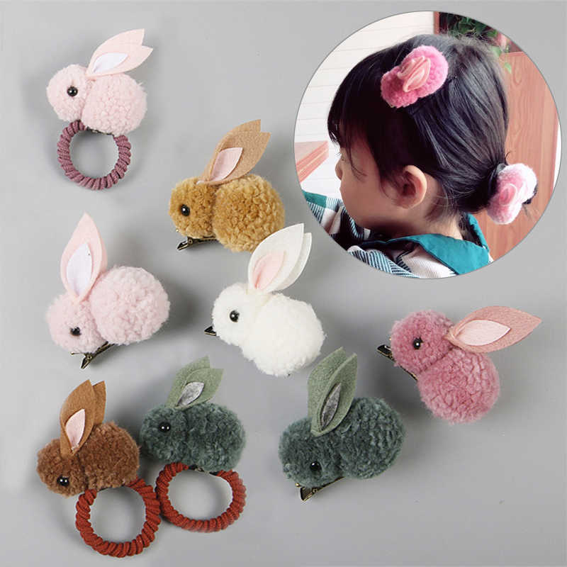 Hot Sale Korean 3D Hair Clip For kids Cute Rabbit Girls Popular Hair Rope Hair Accessories
