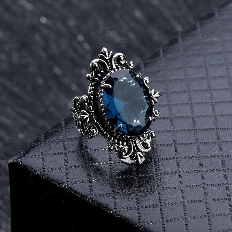 Oval Blue Topaz Ring Vintage 925 Silver Goose Egg Sapphire Gemstone Obsidian Bizuteria For Women Men Diamond Jewelry 925 Ring