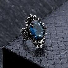 Oval Blue Topaz Ring Vintage 925 Silver Goose Egg Sapphire Gemstone Obsidian Bizuteria for Women Men Diamond jewelry