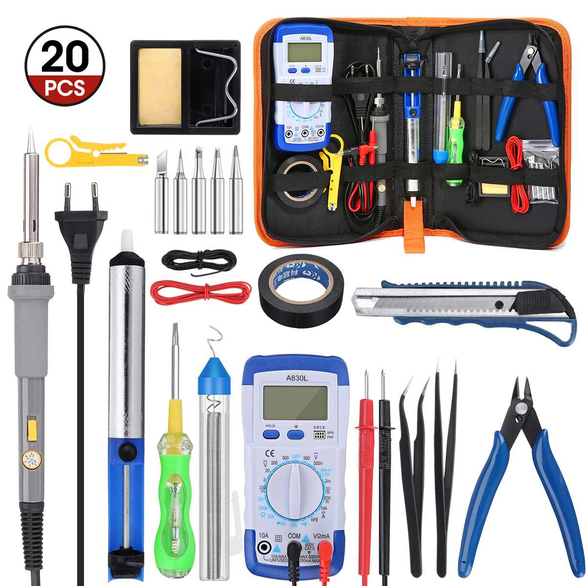 20pcs Soldering Iron 220V 110V 60W New Adjustable Temperature Electric Solder Iron Kit Rework Station Heat Pencil Repair Tool