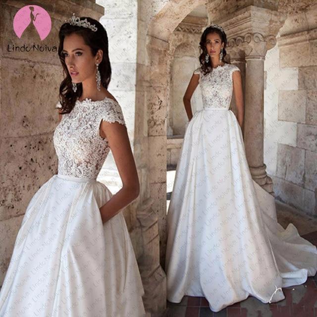 Trouwjurk Modest Satin Wedding Dresses Turkey Scoop Lace Appliqued A-line Bridal Gown with Pockets Vestidos de Novia Mariage