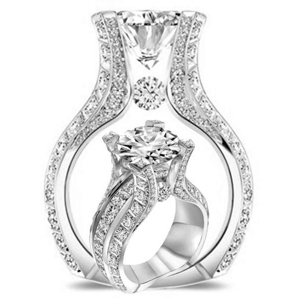 สตรีแฟชั่น Noble Rose Gold Filled White Sapphire งานแต่งงานเครื่องประดับแหวน Gorgeous อุปกรณ์เสริม