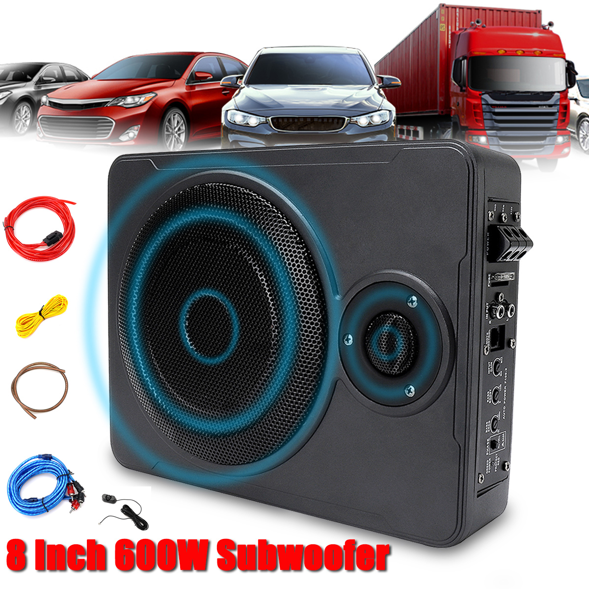 New Universal 8 Inch 600W bluetooth <font><b>Car</b></font> Ultra-Thin <font><b>Audio</b></font> Active Subwoofer Auto Under Seat Sub Amplifier <font><b>Car</b></font> <font><b>Audio</b></font> <font><b>Speaker</b></font> System image