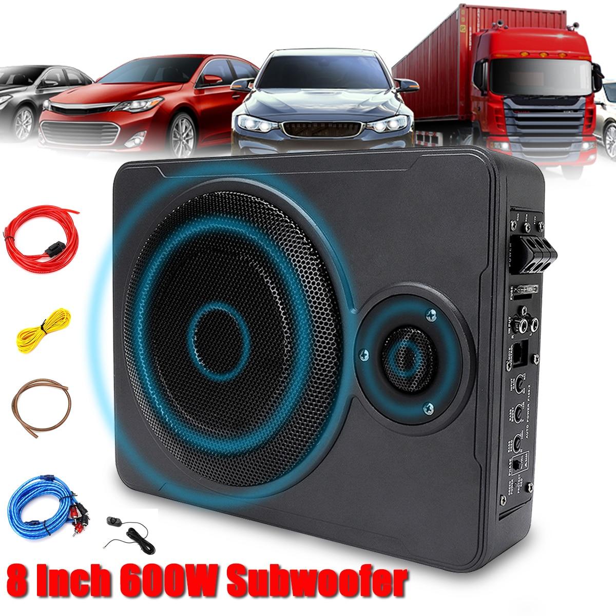 Nouveau universel 8 pouces 600W bluetooth voiture Ultra-mince Audio actif Subwoofer Auto sous siège sous amplificateur sous voiture haut-parleur système