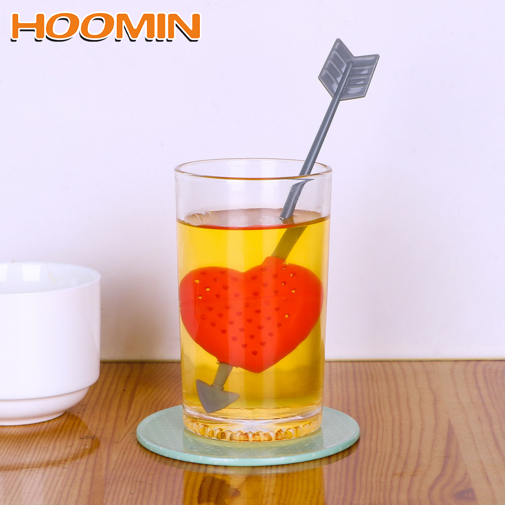 HOOMIN Arrow Through Heart Shape Tea Infuser Herbal Filter Diffuser Empty Tea Bags Kitchen Supplies Creative Tea Strainer