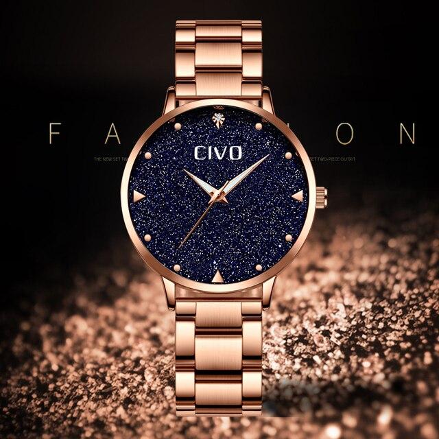 CIVO Luxury Gold Ladies Watches Women Watches Clock Stainless Steel Women'S Bracelet Watches Relogio Feminino Montre Femme 2
