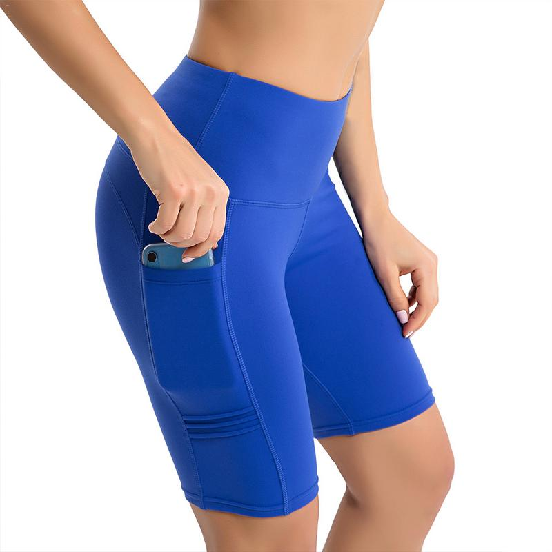 High Waist Elasticity Yoga Shorts Sport Leggings Workout Out Pocket Leggings Fitness Sports Gym Running Yoga Athletic Shorts