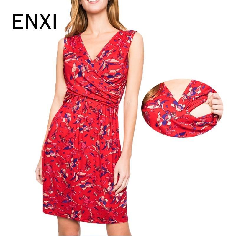 ENXI Summer 2019 Maternity Dress Pregnancy Dress Breastfeeding Clothes Women Pregnants Maternity Sleeveless Print Sundresses