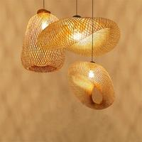 Современные лампы древесины бамбука Art светодиодный подвесные лампы освещения ротанга кулон лампы для столовой комнаты домашние светильни