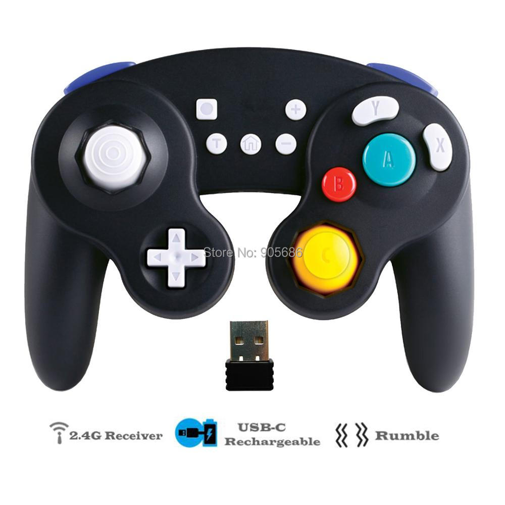EXLENE 1pc/2pcs 2.4G Rechargeable Wireless Nintendo Switch Controller, Gamecube style, Rumble, Motion Control-in Gamepads from Consumer Electronics    2