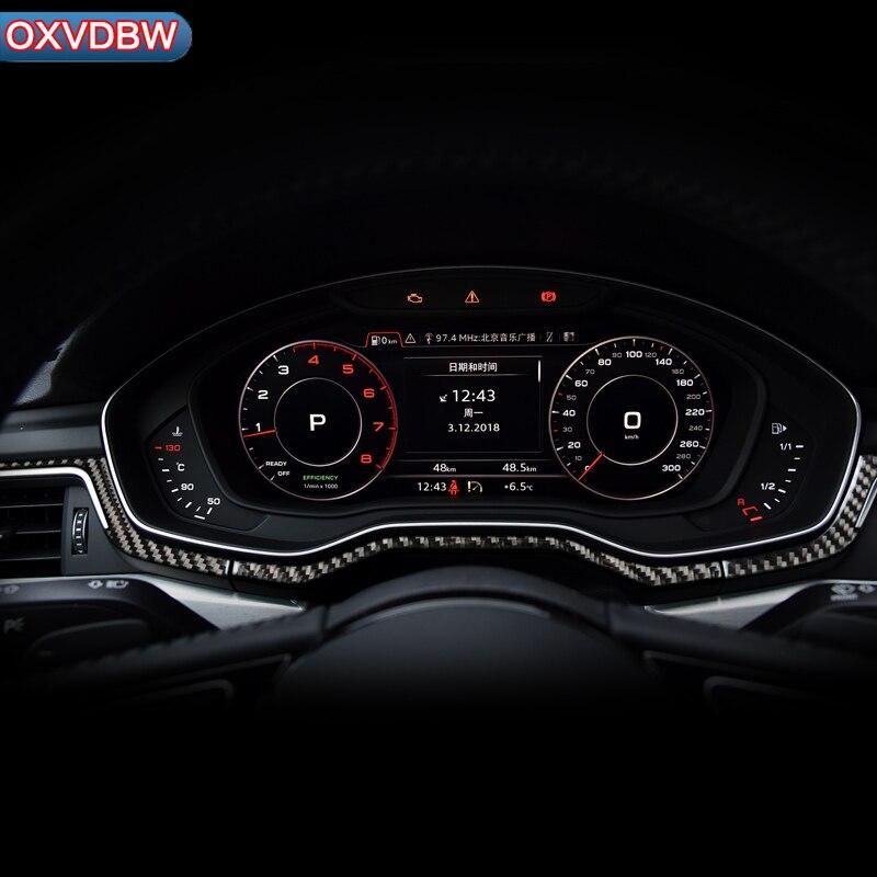 Bandes de décoration de console d'instrument de panneau de commande Central intérieur autocollants de voiture en fibre de carbone pour accessoires Audi a4 b9 LHD RHD