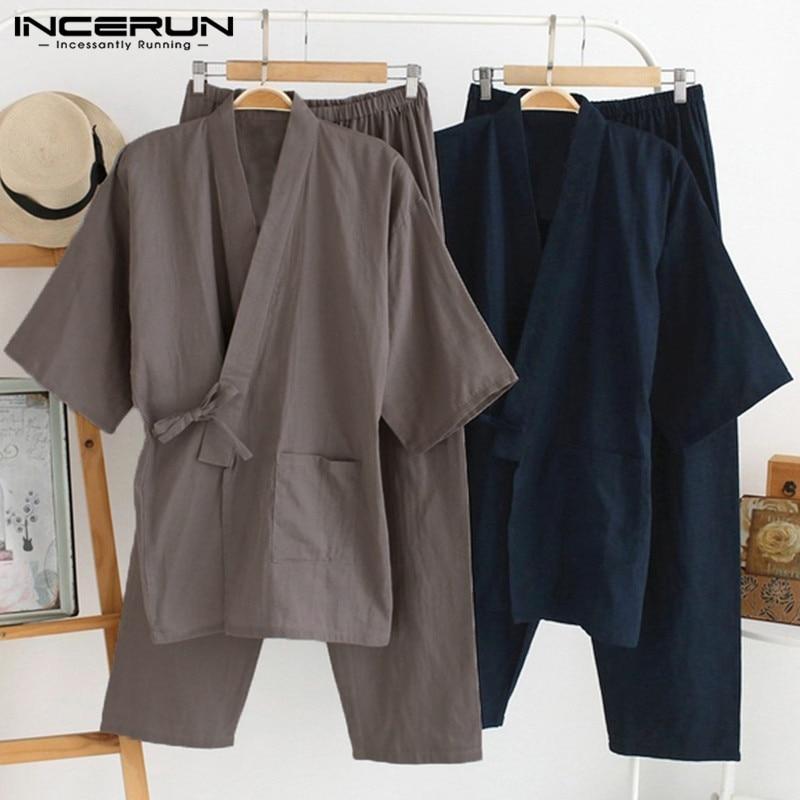 INCERUN Pants Sleepwear Kimono-Set Pajamas-Set Japanese-Style Cotton Solid Tops Kung-Fu