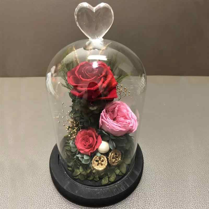 Quality Glass Dome Cloche  Friend Gift Base Flower Landscape Holder Glass Cover Black for Birthday Halloween Wedding Decoration